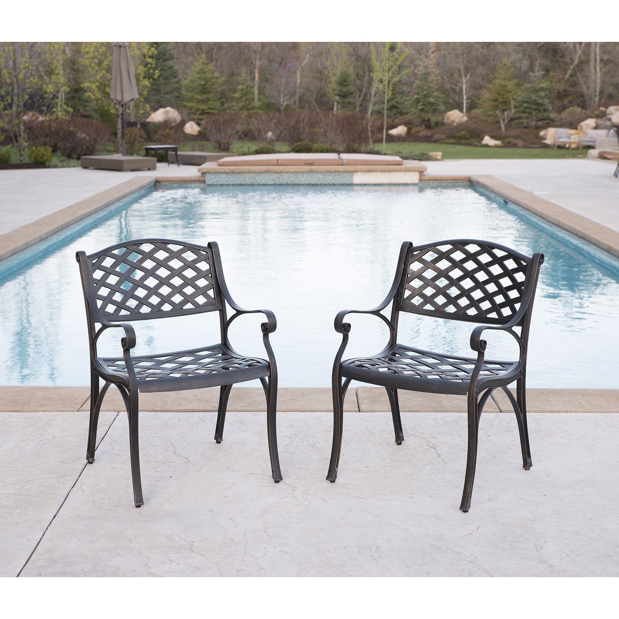 We Furniture Cast Aluminum Patio Chairs Set Of 2 Antique Bronze
