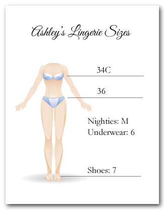 a8c5ab48db07 Size card for Lingerie Bridal Shower Invitations... but with caroline s  drawing