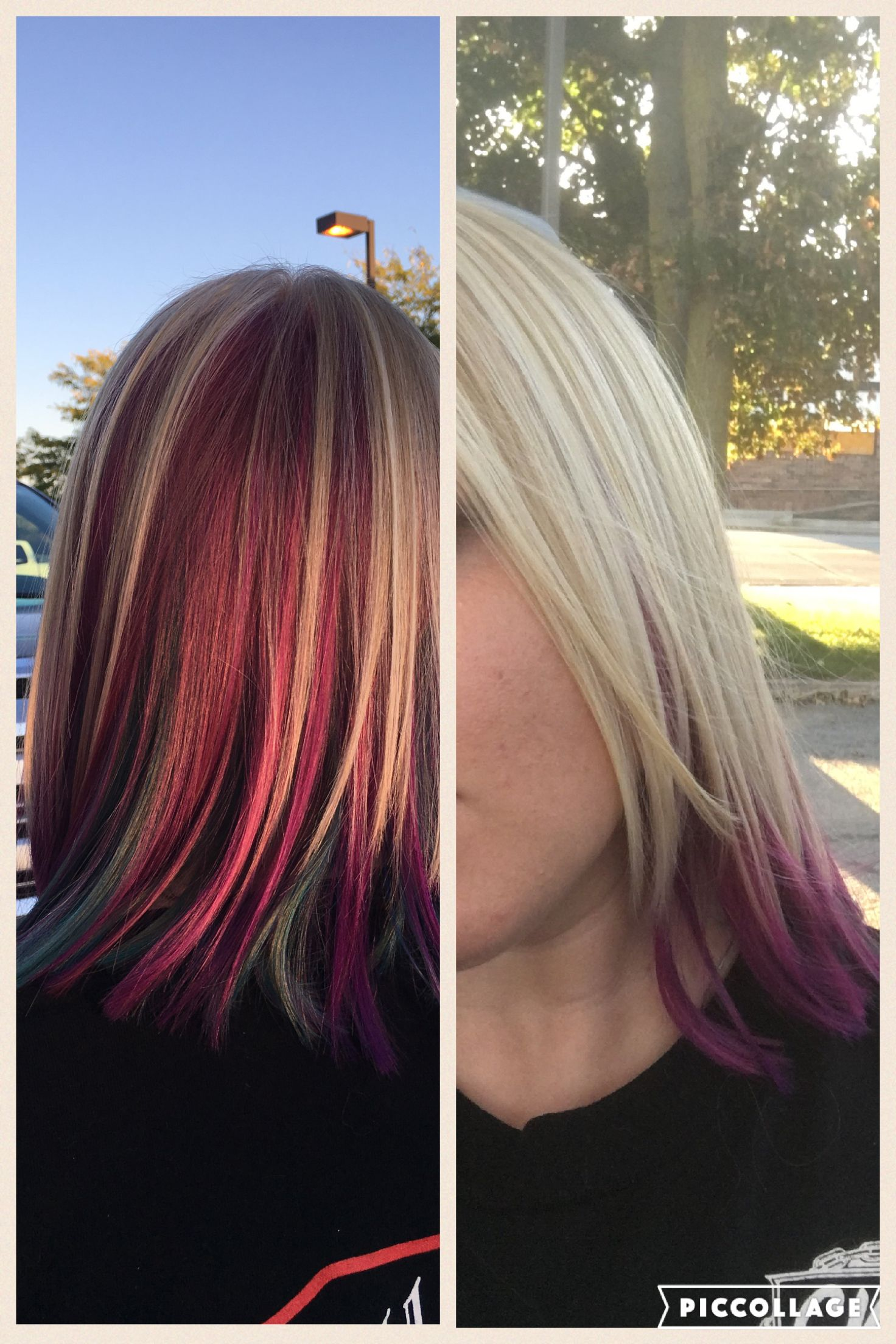 Blonde on top with peacock underneath hair ideas pinterest blondes