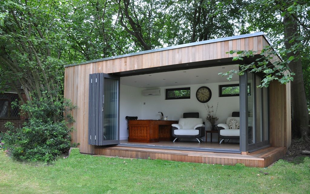 Garden Lodge With Fully Opening Bifold Doors.
