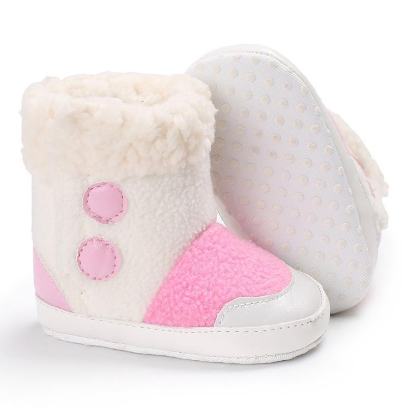 e0194f481 Zapatos de bebé de Invierno Cálido Botas de Color Rosa de Peluche Recién  Nacido Primer Caminante