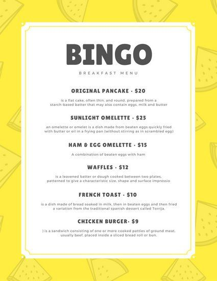 Gray Watermelon Vector Yellow Breakfast Menu Menu Pinterest - breakfast menu template