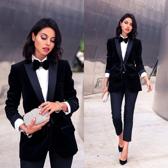 What to wear on New Year\'s Eve | Black bow tie, Silver clutch and ...