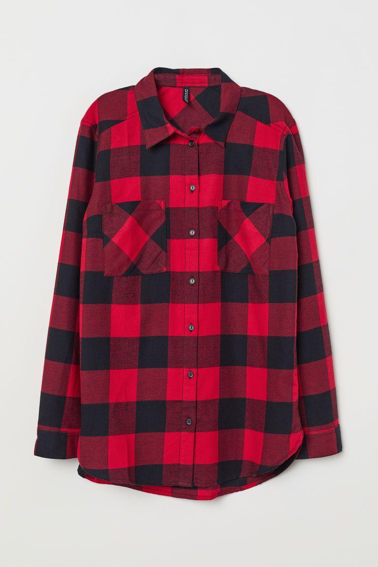 43123c669f8 Хлопковая рубашка - Красный Черная клетка - Женщины