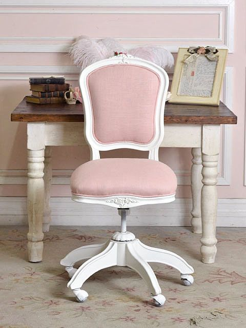 Girls Pink Desk Chair Grey Rocking Recliner Linen Office For All My Girly Home