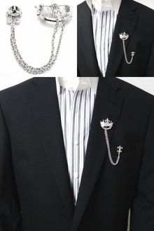 a368e0cce1d1 Cuffsmania   Rakuten Global Market: It is the lapel broach of the crown and  the chain a broach chain broach broach with lapel pin men chain shiningly