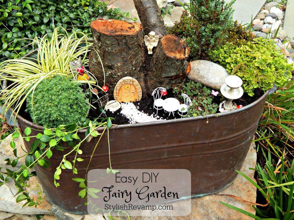 Easy DIY Fairy Garden | DIY Home Decorating | Pinterest | Copper tub ...