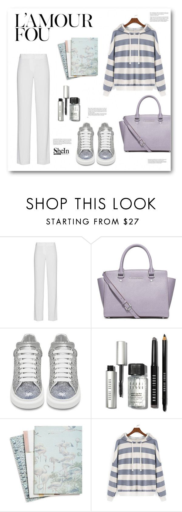 """Baby Don't Cry (EXO)"" by miryoserra on Polyvore featuring DKNY, MICHAEL Michael Kors, Alexander McQueen, Bobbi Brown Cosmetics, Maison Scotch and Whiteley"