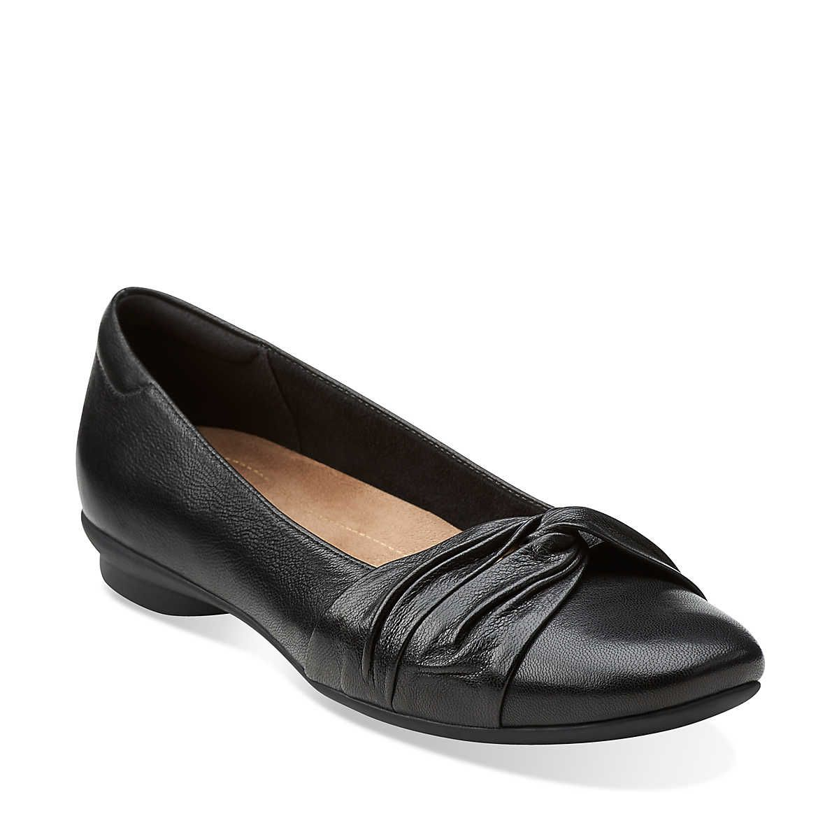 Candra Gleam in Black Leather - Womens Shoes from Clarks I need flats for  practicum!