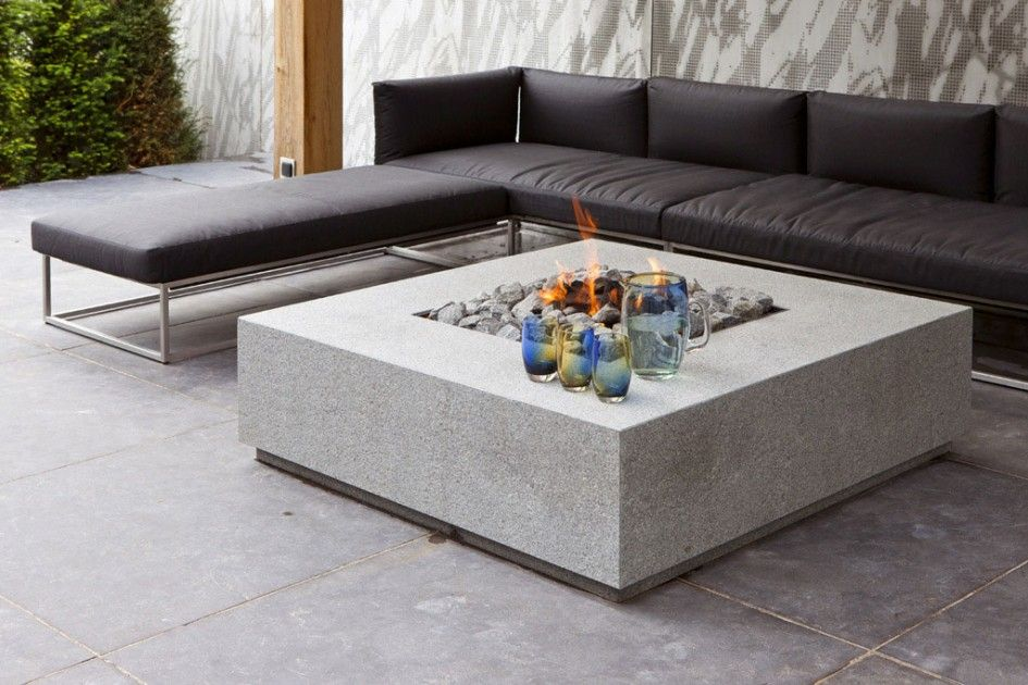 Architecture white outdoor fireplace table with stone glass and