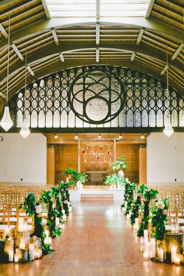 Mod Geometric Rustic Wedding At The Loft On Pine Rustic Wedding Aisle Decor Ceremony Spaces
