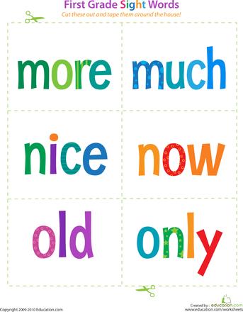 1st Grade Sight Words Flash Cards Etamemibawa