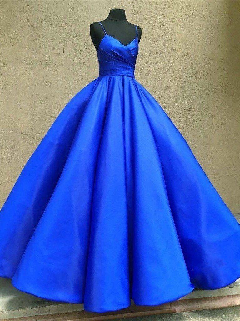 1c42f6c9919 Sweetheart Neck Spaghetti Straps Royal Blue Satin Long Prom Dresses ...