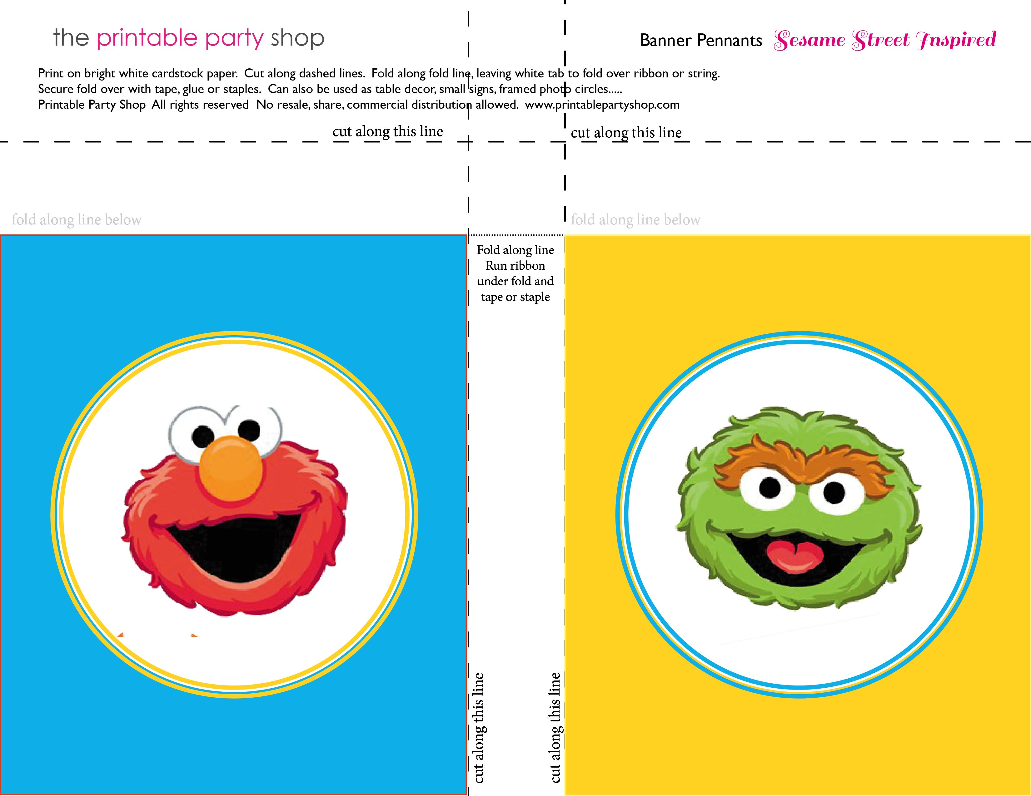 graphic regarding Printable Sesame Street Characters referred to as banner-squares-elmo-oscar-sesame-road-printablepartyshop