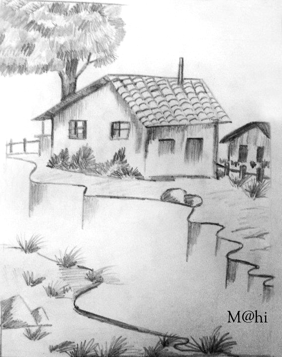 Pin By Valeria Marin On Art In 2020 Landscape Drawings Art Drawings Sketches Simple Landscape Pencil Drawings