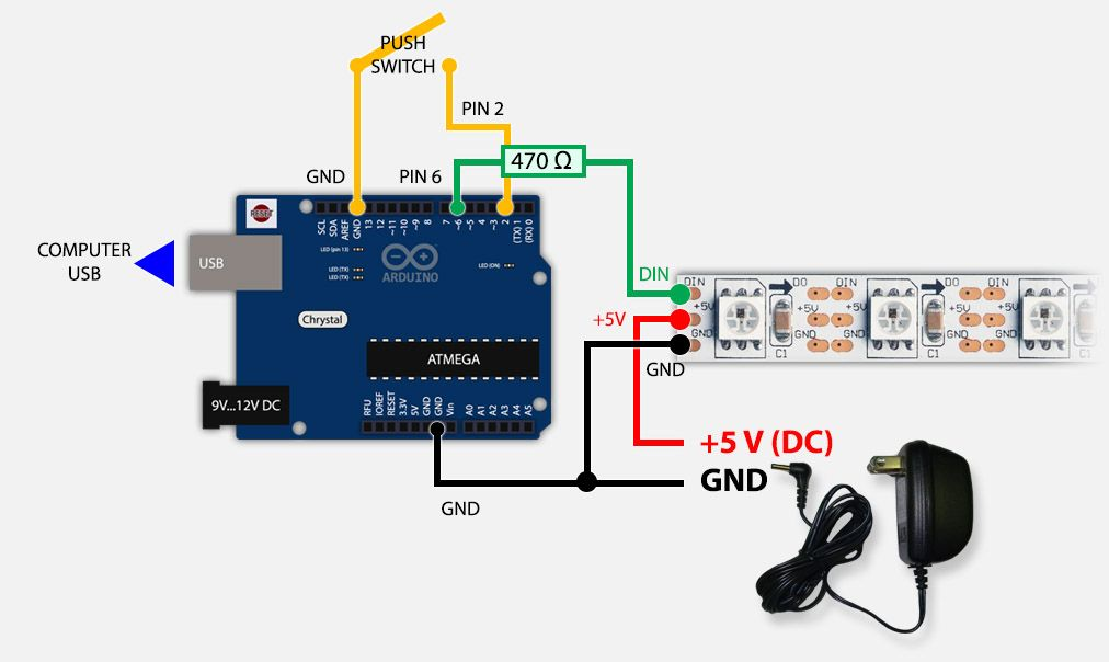 Arduino Led Strip Switch And Power Supply Setup