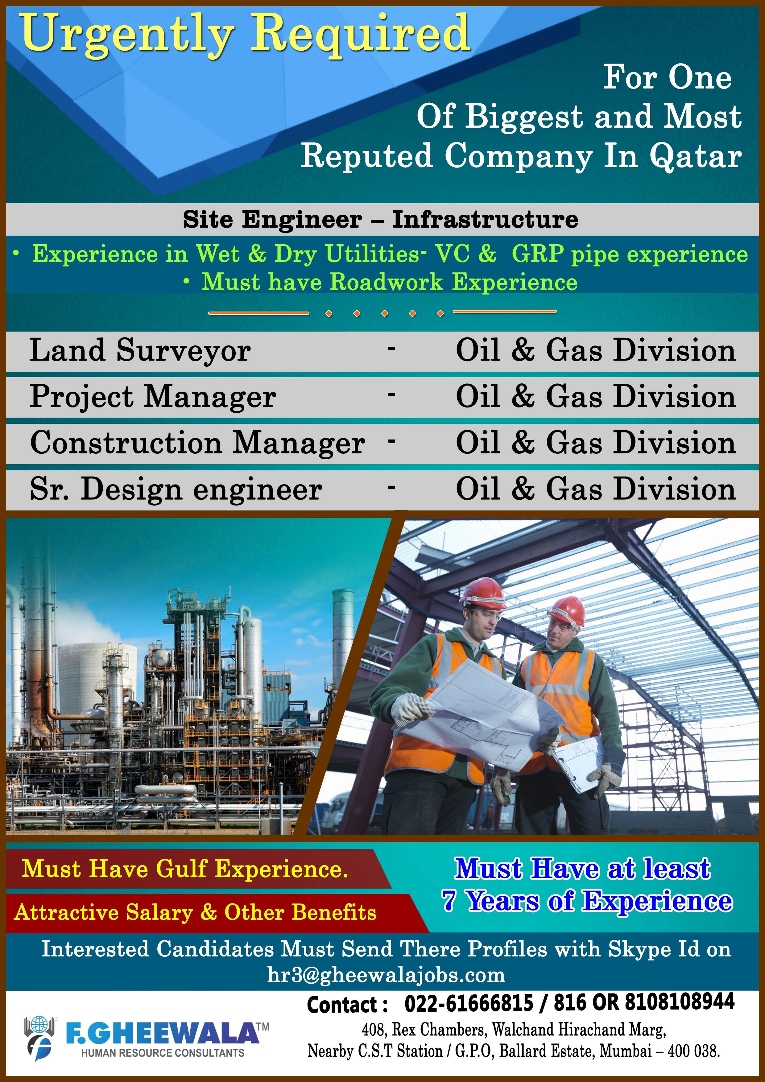 Urgently Required for one of the Biggest and Most Reputed Company in