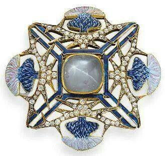 Lalique Art Nouveau thistle brooch, c. 1905