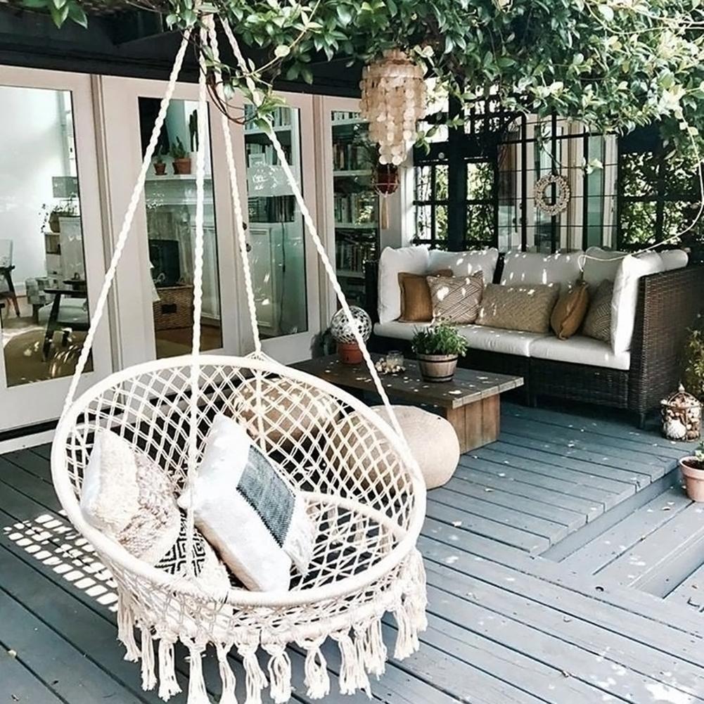 Cotton Rope Solid Wood Outdoor Patio Yard Garden Hanging Swing Bed Hammock