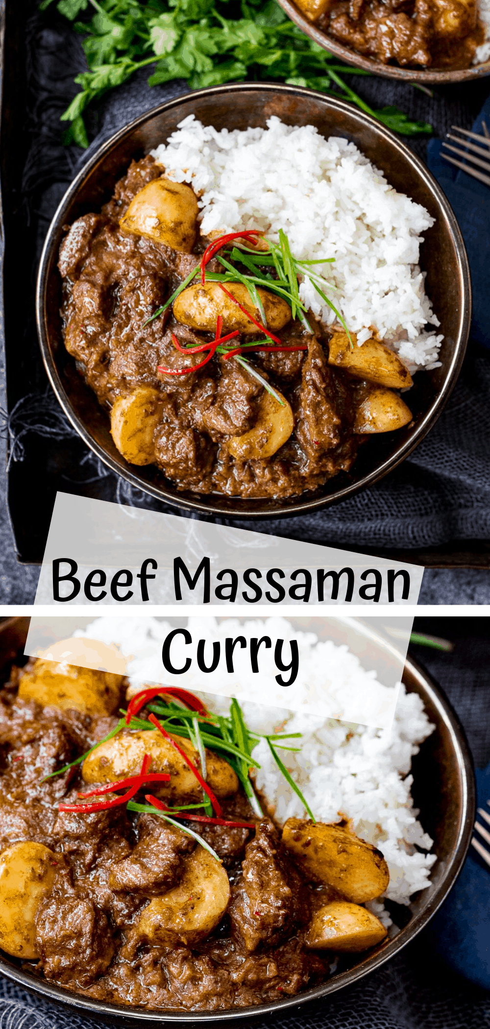 Slow Cooked Beef Massaman Curry - Rich, fall-apart beef in a spicy homemade sauce with new potatoes. Perfect comfort food! #massaman #beefcurry #beefmassaman #coconutcurry #thaicurry #slowcookedcurry #homemadesauce