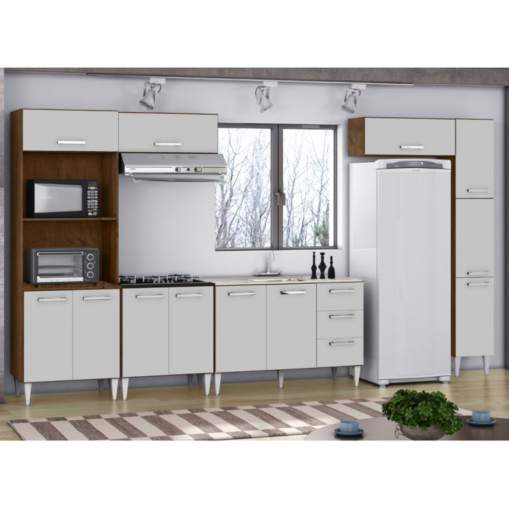 Cozinha Modulada 6 Pecas Milena 2715 Marrom Branco Milani