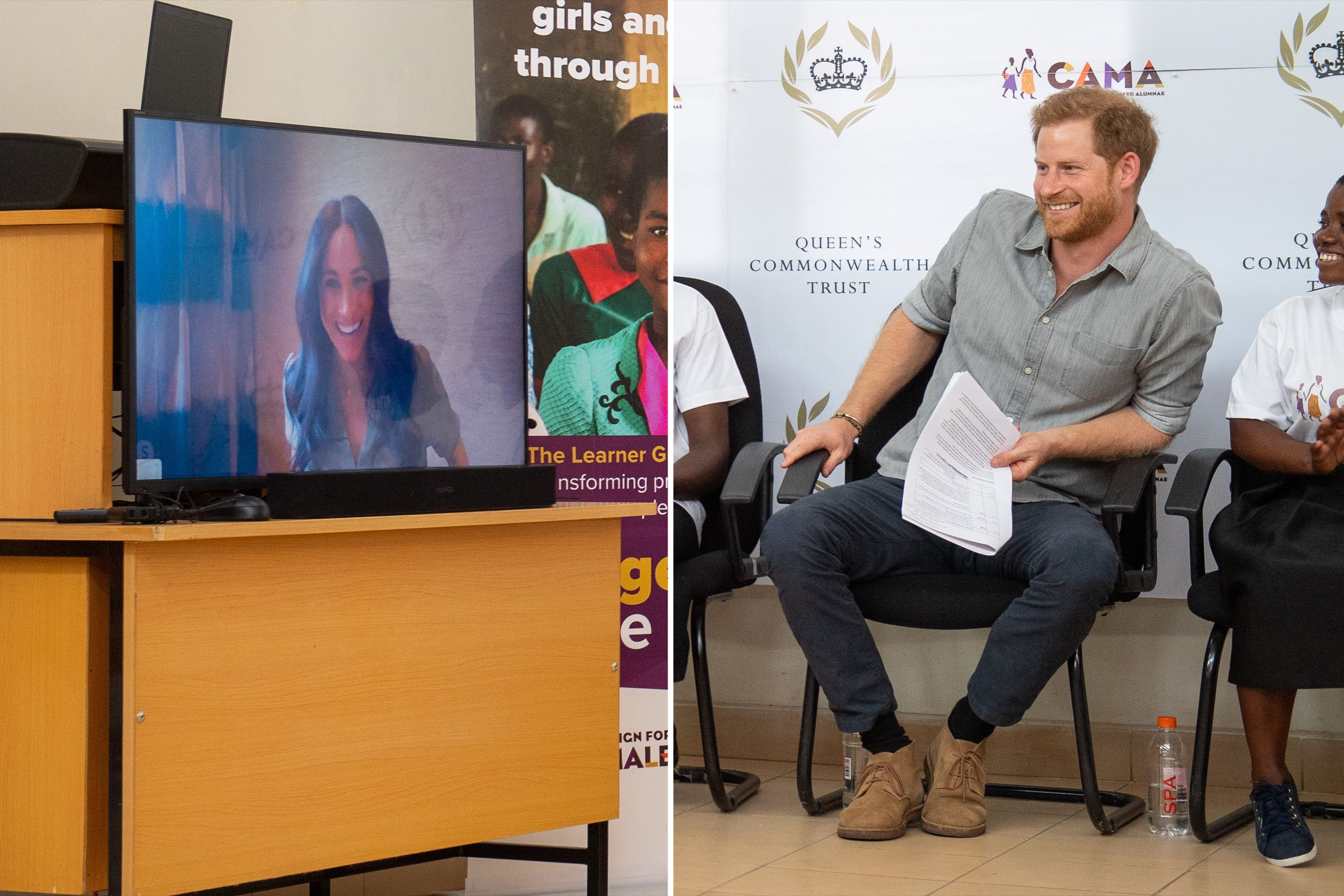 See Prince Harry S Meme Worthy Reaction To Meghan Markle S Surprise Skype Appearance Prince Harry Markle Meghan Markle
