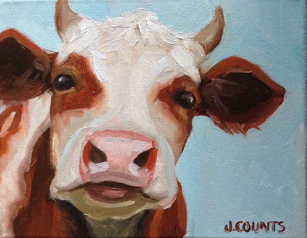 """Cow Art Farm Home Décor  """"Bobby Sue"""" Oil on Canvas 8""""x10"""""""
