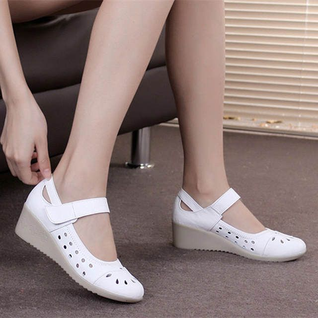 Summer sandals white hollow out wedges leather goosegrass bottom air hole hole shoes women casual shoes