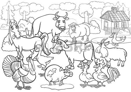 Black And White Cartoon Illustration Of Country Scene With Farm Farm Animal Coloring Pages Zoo Coloring Pages Zoo Animal Coloring Pages