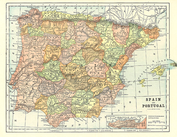 Printable Map Of Spain And Portugal Digital Download No 161 Etsy Map Of Spain Old Map Spain And Portugal