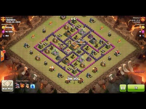 Clash of Clans TH7 vs TH8 Dragon Clan War 3 Star Attack ⋆ Clash of Clans 3 Stars Clan Wars