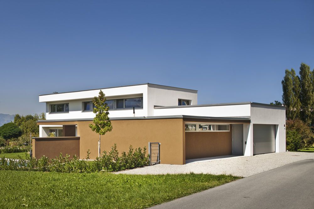Massivbau holz alufenster moderne l form moderne for Modernes haus l form