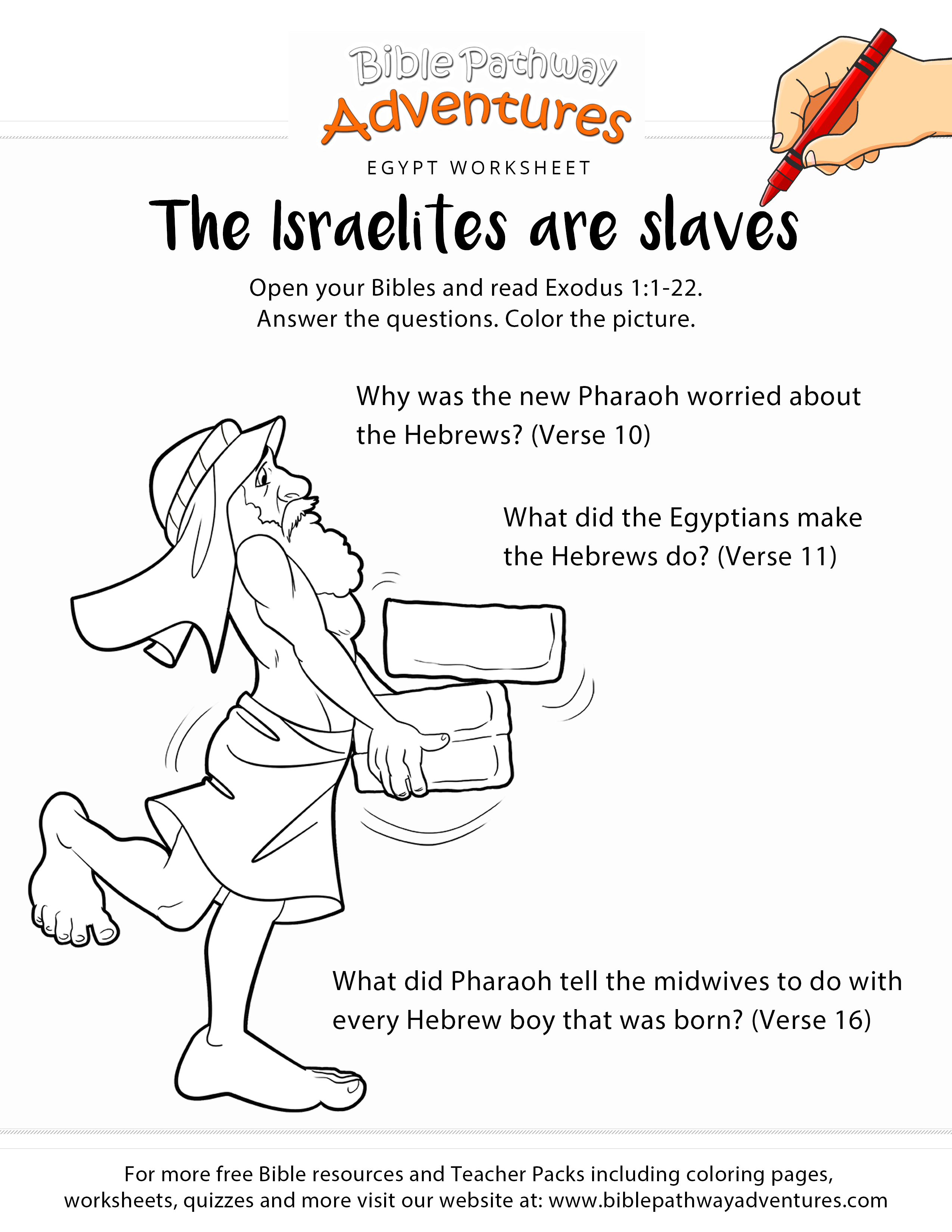The Israelites Are Slaves Worksheet And Coloring Page