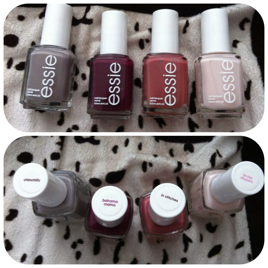 Perfect fall nail colors. Essie chinchilly, Bahama mama, in stitches ...