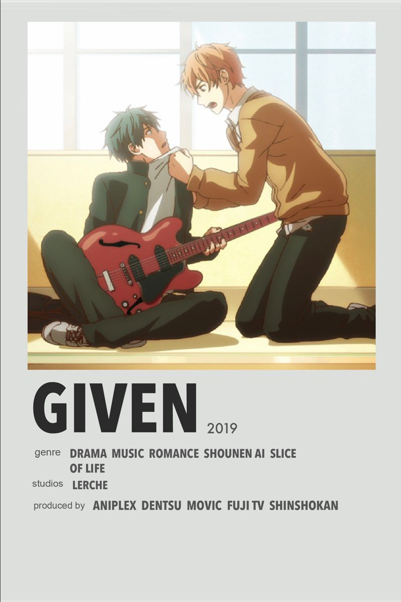 Given Anime Poster Anime Reccomendations Movie Posters Minimalist Anime Films