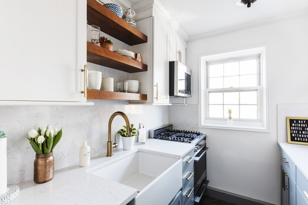 All the Right Decisions for a Galley Kitchen #galleykitchenlayouts Check out the renovation, including all new materials and appliances, of a once too-tight and dark galley kitchen in Forest Hills Queens. #galleykitchenlayouts