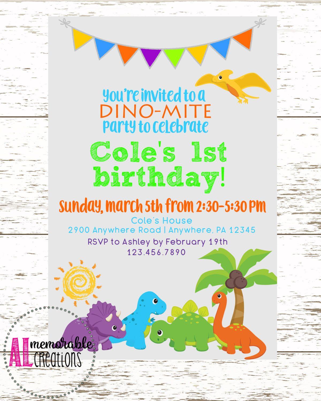 Dinosaur Birthday Invitation, Boy Birthday Invitation, Child ...