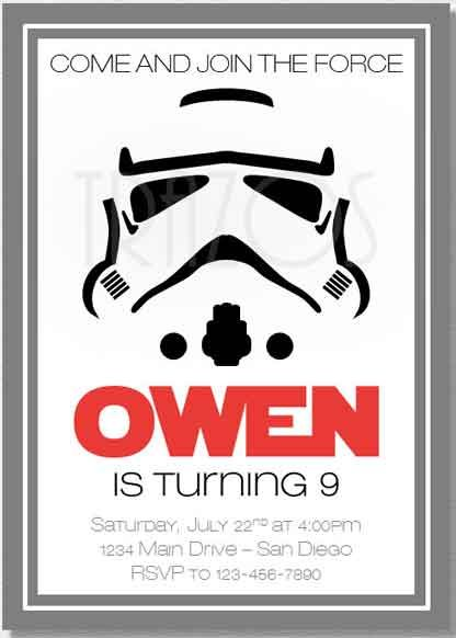 star wars party invitations stormtrooper Ronans party