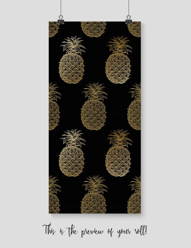 Luxurious Pineapple removable wallpaper, Watercolor wall