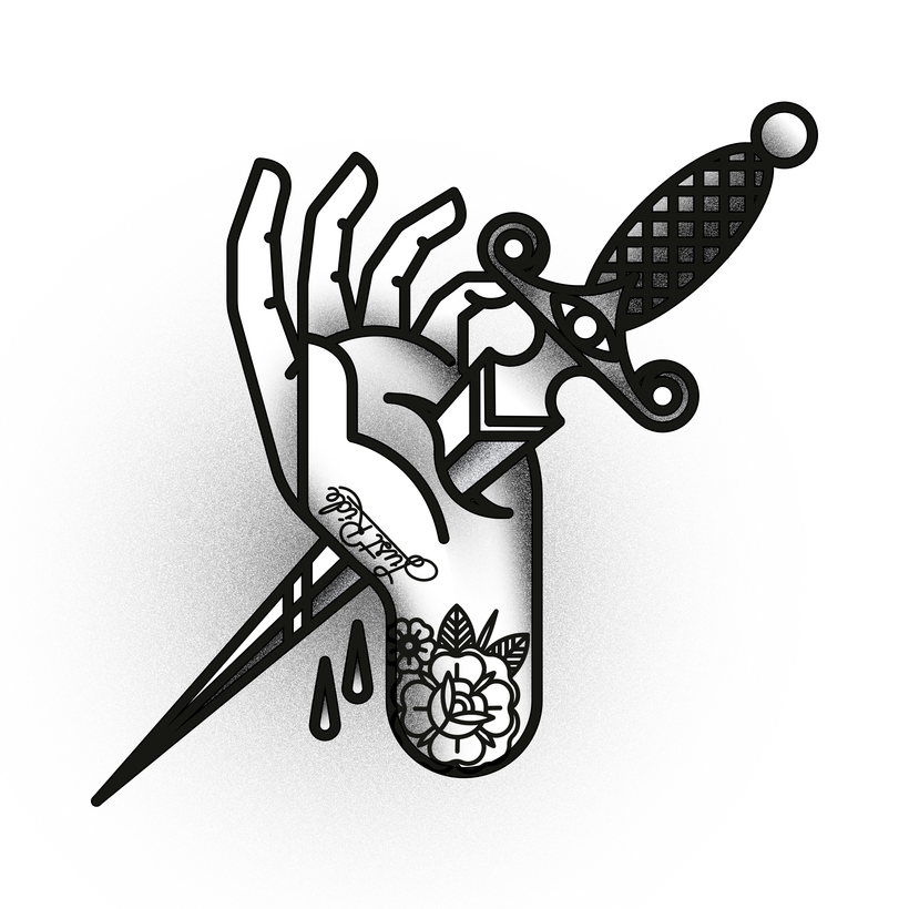 Dagger Tattoo Outline: Traditional Knife Tattoo Black And White