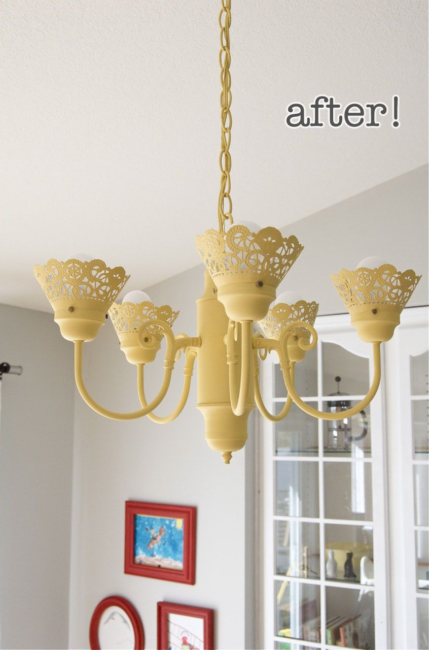 yellow-chandelier-doily-makeover