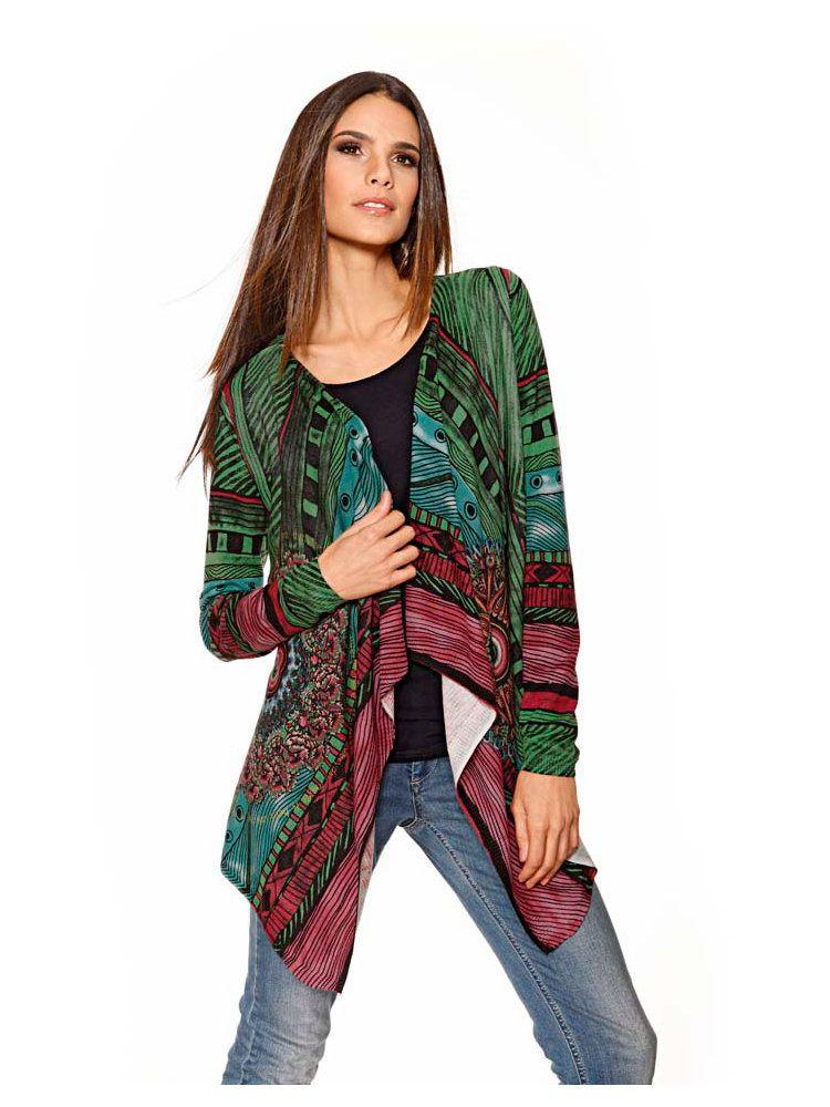 Desigual femme Cardigan, esprit kimono, à porter avec un jean