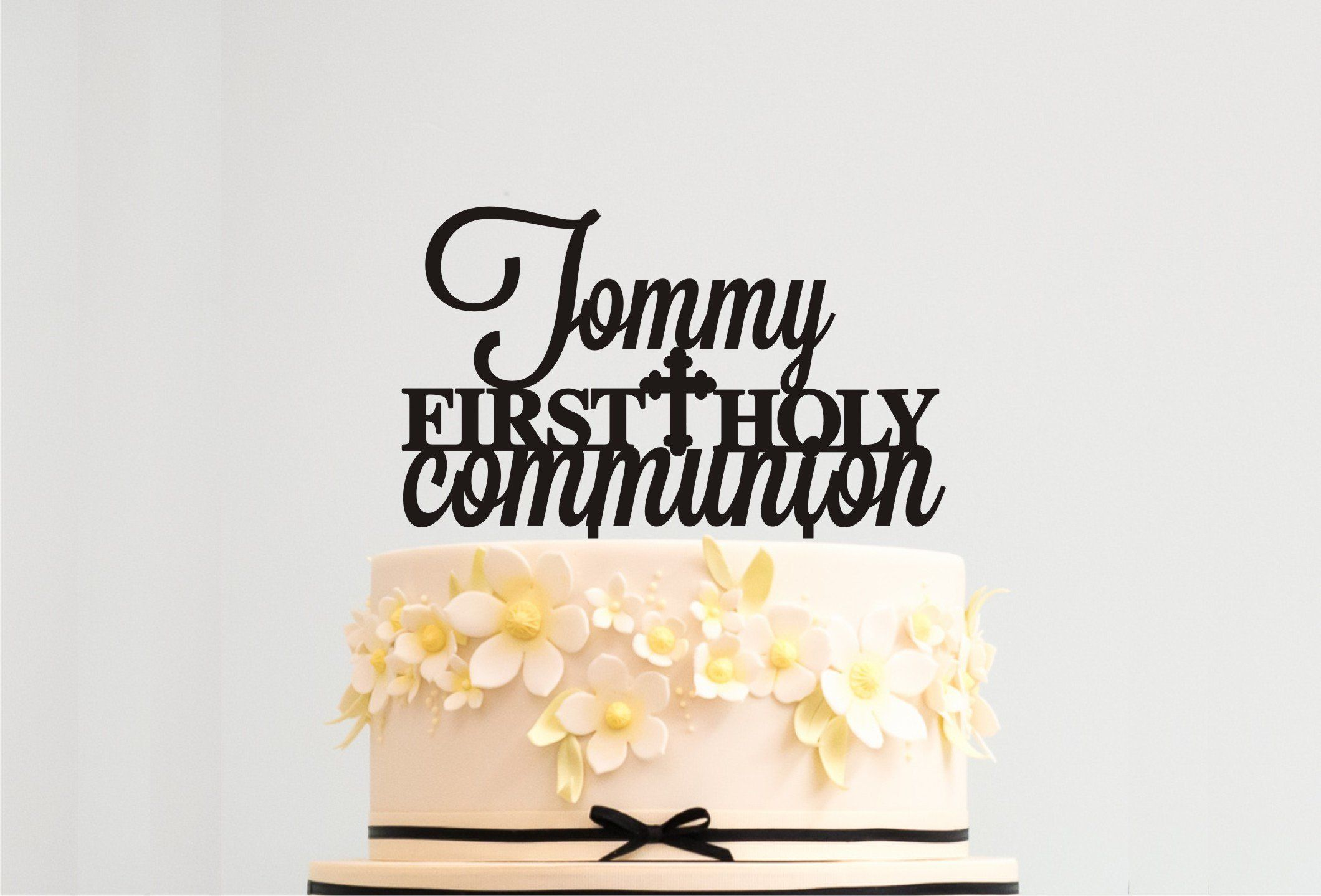1st Holy Communion Cake Topper Personalised Custom Firts Cross Any Name Boy Girl