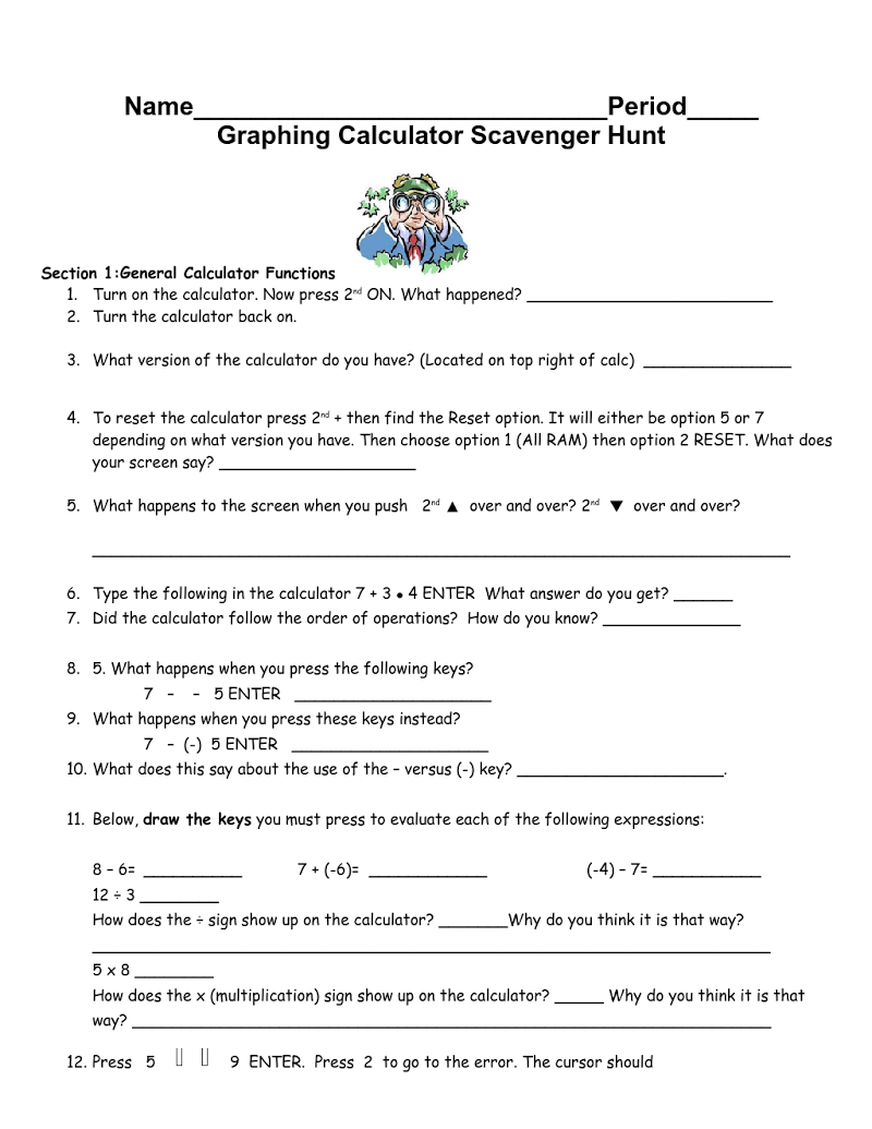 Free Ti Graphing Calculator Scavenger Hunt For First Week Of School Post  On Blog At