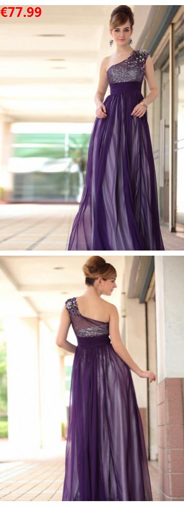 1-Schulter Bodenlang Chiffon elegante Abendkleider ...