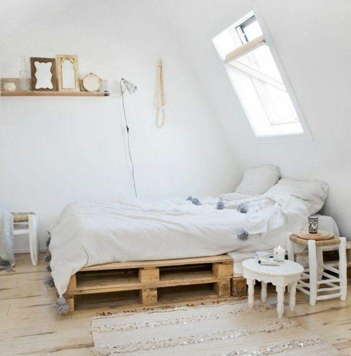 comment faire un lit en palette 52 id es ne pas manquer d co style scandinave lit en. Black Bedroom Furniture Sets. Home Design Ideas