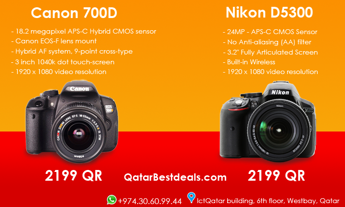 Canon 700D Or Nikon D5300 for only 2199 QR at your online