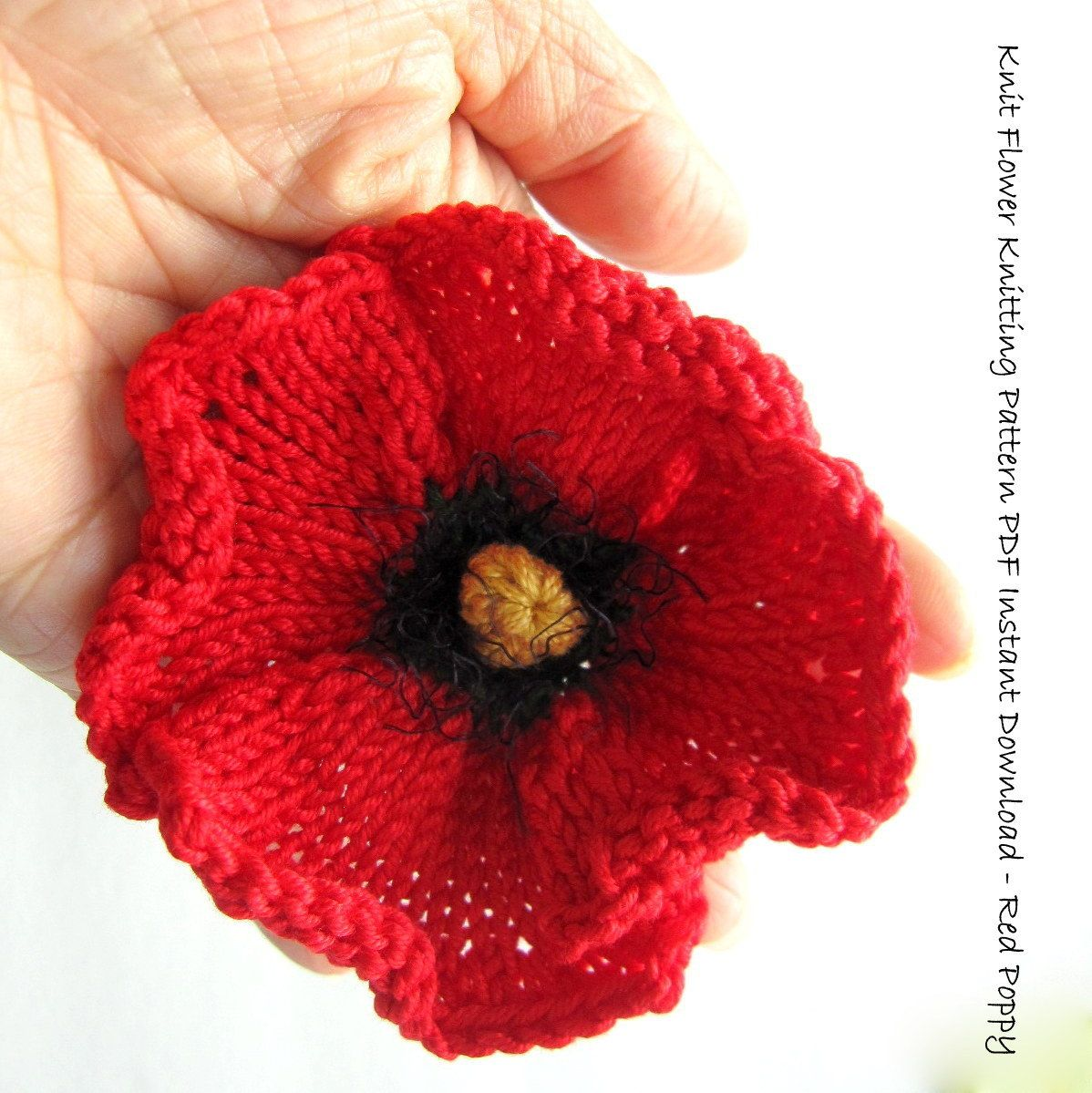 Knit Flower Instant Download PDF Pattern - Poppy Flower | Knit ...