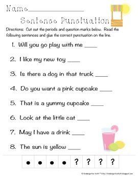 Lemonade Punctuation Freebie Teaching Writing Punctuation Worksheets Kindergarten Writing Punctuate the sentence worksheet