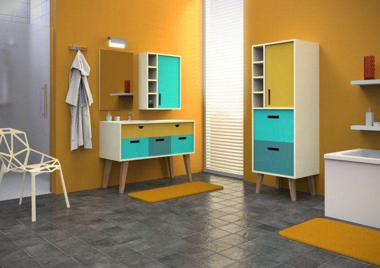 Meuble Salle De Bain Moderne D Inspiration Retro Peinture Jaune Moutarde Et Chaise Design Meuble Salle De Bain Salle De Bains Moderne Peinture Jaune